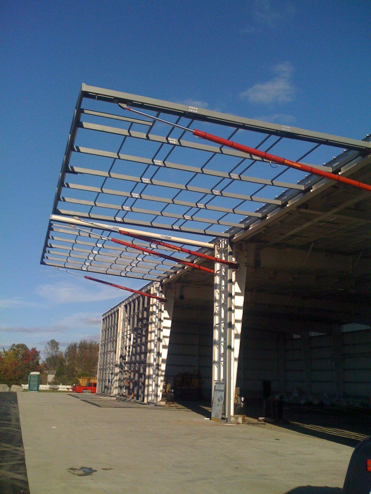 Custom Boat storage building with hydraulic doors under construction Westbrook Ct
