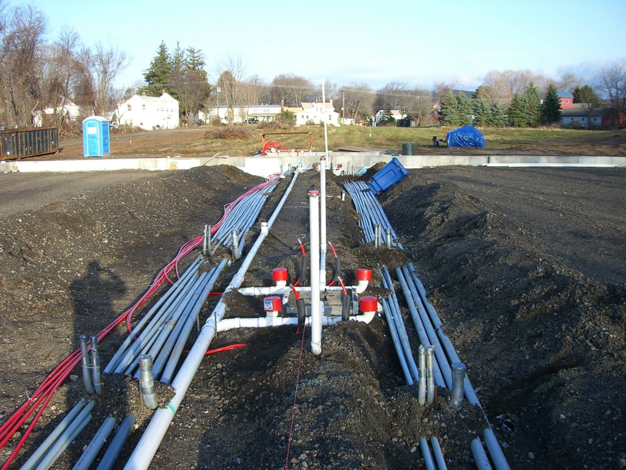 Excavation and mechanical installation for new construction building